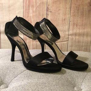 A touch of Nina heels. Black satin, silver accents
